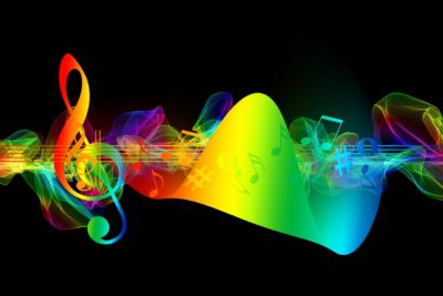 Image: Rainbow stylized musical notes and sound waves