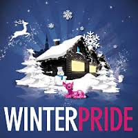 "Text reads ""WINTERPRIDE"" Image: A cabin in the snow."
