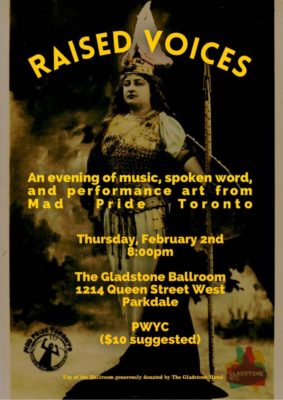 Poster for Raised Voices Event. Background image is an opera singer dressed like a viking.